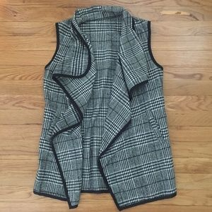 SheIn Contrast Binding Wales Check Waterfall Vest